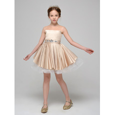 Inexpensive A-Line Mini/ Short Satin Tulle Flower Girl Dresses