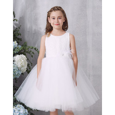 Cute Beaded Bodice Flower Girl Dresses with Feather and Handmade Flowers