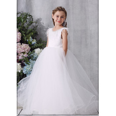 Beautiful Beaded Neckline Tulle Flower Girl Communion Dress with Feather