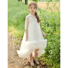 Beautiful Half Sleeves High-Low Flower Girl Dresses with Bubble Skirt
