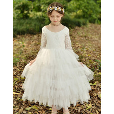 Perfect Ankle Length Layered Skirt Flower Girl Dresses with Long Lace Sleeves