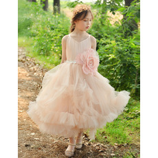 Pretty Ankle Length Tulle Flower Girl Dresses with Bubble Skirt with Layered Skirt
