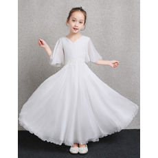Inexpensive Ankle Length Chiffon Flower Girl Dress with Short Sleeves