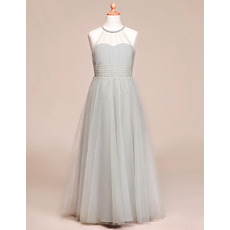 Simple Discount A-Line Full Length Pleated Tulle Flower Girl Dresses