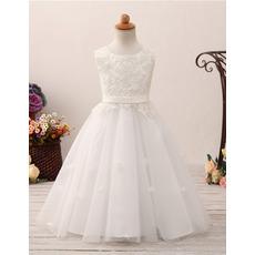 Lovely Ball Gown Full Length Appliques White Tulle Flower Girl/ First Communion Dresses
