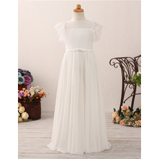 Simple Bateau Neck Lace Chiffon Flower Girl/ First Communion Dress with Flutter Sleeves