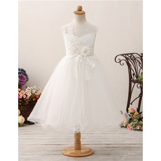 Custom A-Line Tea Length Organza Flower Girl Dresses for Wedding