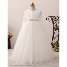 Cute Ball Gown Lace Bodice Plus Size Flower Girl Communion Dress with Long Sleeves