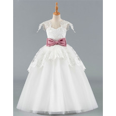 Beautiful Ball Gown Full Length Tulle Flower Girl Dresses with Layered Draped High-Low Skirt