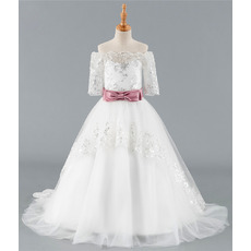 Affordable Ball Gown Off-the-shoulder Appliques Tulle Flower Girl Dress with Half Sleeves