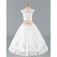 Pretty V-back Full Length Lace Tulle Flower Girl Dresses with Cap Sleeves