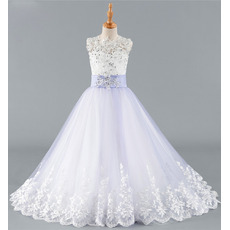Gorgeous Crystal Beading A-Line Full Length Tulle Flower Girl Dress