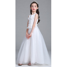 Beautiful A-Line Ankle Length White Tulle Flower Girl Dresses for Wedding