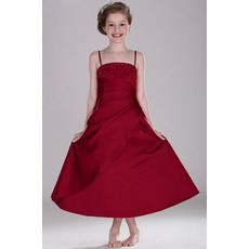 Concise Spaghetti Straps Tea Length Satin Flower Girl/ Junior Bridesmaid Dress with Asymmetrical Pleated