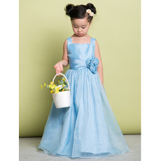 Concise Wide Straps Full Length Taffeta Flower Girl Dresses with Hand-made Flowers
