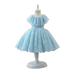 Adorable Simple Ruffled Neckline Knee Length Pleated Lace Little Girls Easter Dresses