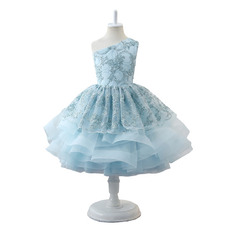 Luxury Beaded Appliques Ball Gown One Shoulder Knee Length Little Girls Party Dresses with Layered Skirt
