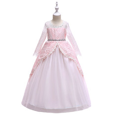 Princess Ball Gown Lace Little Girls Party Dresses with Layered Draped High-Low Skirt