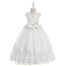 Princess Ball Gown Full Length Lace Tulle First Communion Dresses with Slight Cap Sleeves