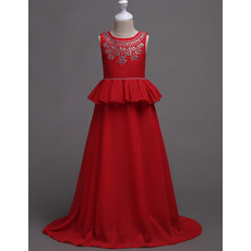 Discount Full Length Chiffon Little Girls Party Dresses/ Junior Bridesmaid Dresses with Peplum