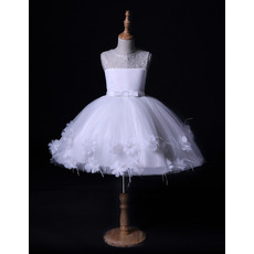Charming Ball Gown Mini/ Short Tulle Flower Girl Dresses with Feather Bottom and Flowers