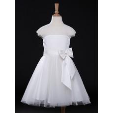 Simple A-Line Knee Length Tulle Satin Flower Girl Dresses with Slight Cap Sleeves