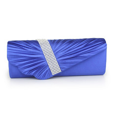 Fashionable Pleated Satin Wedding Party Evening Handbags with Crystal Diamante/ Purses/ Clutches