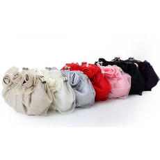 Fashionable Satin Flowers Front Wedding Party Evening Handbags/ Purses/ Clutches