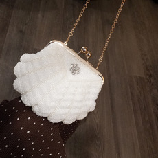 Charming Crystal Beaded White Wedding Party Evening Handbags/ Purses/ Clutches