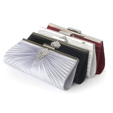 Elegant Pleated Silk Crystal Wedding Party Evening Handbags/ Purses/ Clutches