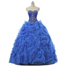 Classy Ball Gown Sweetheart Floor Length Prom/ Quinceanera Dresses with Detachable Ruffled Tiered Skirts