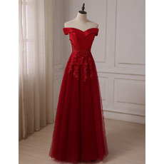 Classy Beaded Appliques A-Line Off-the-shoulder Brush Train Prom/ Party/ Formal Dresses
