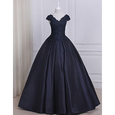 Custom Beaded Appliques Ball Gown V-Neck Full Length Prom/ Quinceanera Dresses with Slight Cap Sleeves