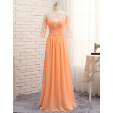 Inexpensive Appliques Pleated bodice Full Length Chiffon Prom/ Formal Dresses with 3/4 Long Sleeves for Women
