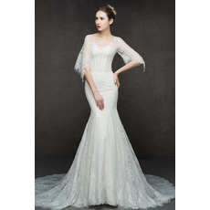 Tailored Dreamy Beaded Mermaid Long Length Lace Wedding Dresses with Open Illusion Lace Back