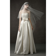 Tailored Simple A-Line Strapless Full Length Pleated Satin Wedding Dresses with Bow