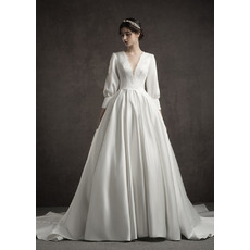 Vintage A-Line Deep V-Neck Satin Wedding Dresses with Bishop Sleeves
