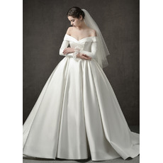 Junoesque Off-the-shoulder Pleated Skirt Satin Wedding Dresses with Long Sleeves