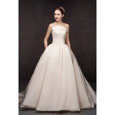Concise Ruched Bodice A-Line Strapless Court Train Satin Wedding Dresses with Pockets