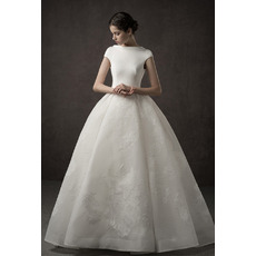 Fashionable Appliques Ball Gown Cap Sleeves Floor Length Organza Satin Wedding Dress
