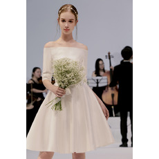 Affordable Off-the-shoulder Shoft Satin Wedding Dresses with Half Sleeves