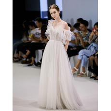 Whimsical Sexy Asymmetric One Shoulder Full Length Tulle Wedding Dresses with Open Back