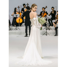 Fashionable Spaghetti Straps Satin Wedding Dress with Bishop Sleeves