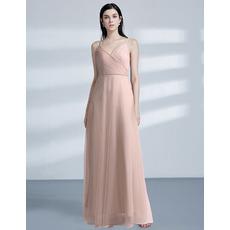 Simple Slender Straps Ruched Bodice Floor Length Tulle Evening Dresses