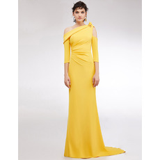 Attractive Sexy Full Length Evening Dresses with Asymmetrical Split Sleeves