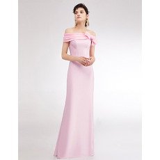 Elegance Ruched Off-the-shoulder Floor Length Satin Evening Dresses with Bowknot