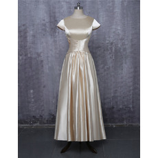 Elegant Simple Tea Length Pleated Satin Mother Dresses with Cap Sleeves