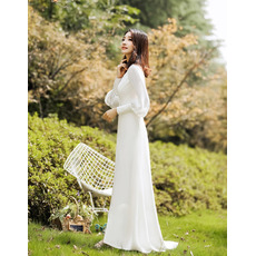 Simple Plunging V-back Satin Wedding Dresses with Bishop Sleeves and Split Front