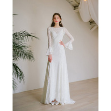 Attractive Long Length Lace Wedding Dresses with Bell Sleeves