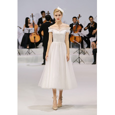 Petite Ruffled Neckline Off-the-shoulder Reception Tulle Wedding Dresses